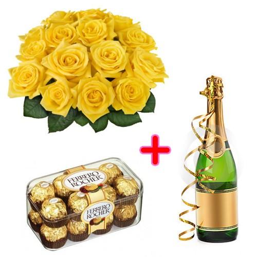 Omaggio 12 rose gialle, pacco di cioccolatini e bottiglia di spumante