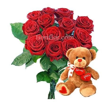 mazzo di rose rosse da 12 con peluches