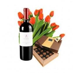 12 tulipani rossi, una bottiglia di vino rosso ed un pacco di cioccolatini