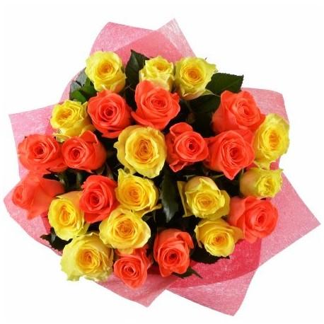 25 rose arancio e gialle