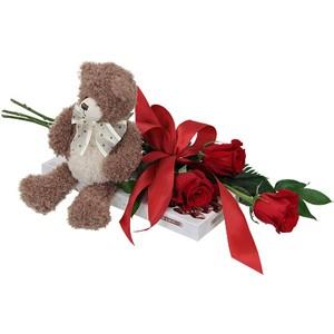 3 rose rosse pacco di cioccolatini e orsetto