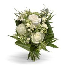 Bouquet con 3 rose bianche, fiorellini bianchi