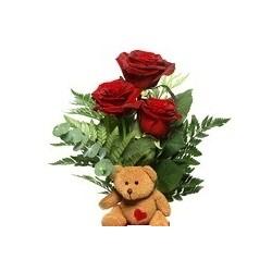Rose rosse e orsetto di peluches