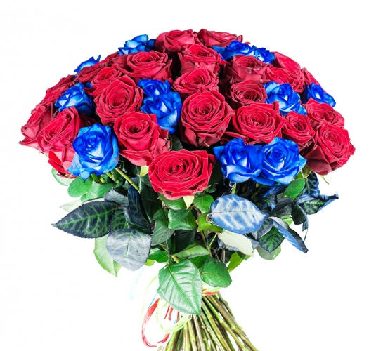 Bouquet con 12 rose blu e 23 rose rosse