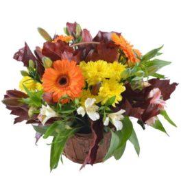 Cesto di Fiori gialli e arancioni bellissima composizione gerbere e fiori di stagione