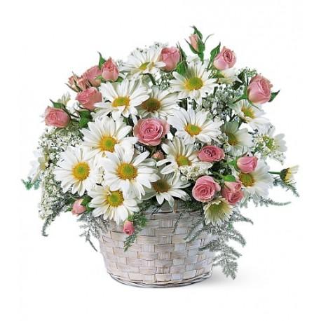 Cesto di fiori freschi composizione con margherite e roselline rosa