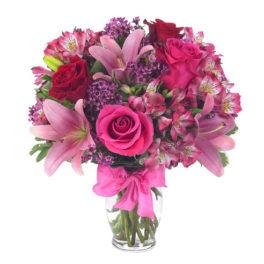 Bouquet con rose rosse,rose e lilium