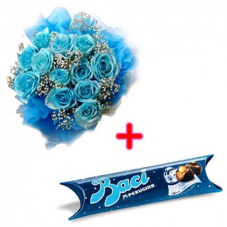 12 rose azzurre con baci perugina