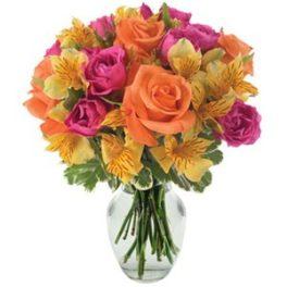 rose arancio e rosa alstroemeria gialla