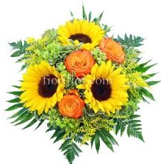 Raggi Di Sole - Bouquet con girasoli e rose arancio
