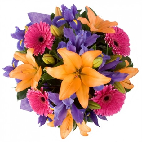 Bouquet con gerbere rosa, lilium gialli arancio e fiori blu