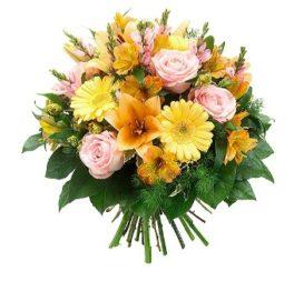 Bouquet lilium arancio, gerbere gialle, rose rosa e astromerie arancio