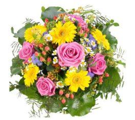 Bouquet con gerbere gialle, rose rosa e fiorellini