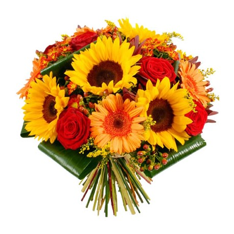 Bouquet girasoli e rose rosse