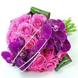 15 rose rosa e fiori di orchidea viola lilla