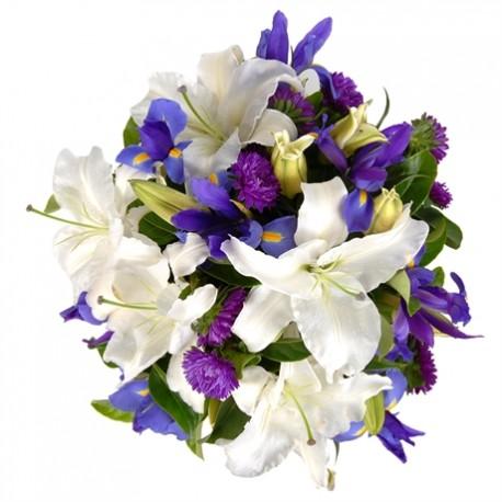 Cielo Di Stelle -Bouquet lilium, fiori blu e fiorellini viola stagionali