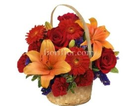 cesto di fiori rose lilium e gerbere invio online