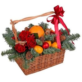 Cesto regalo Natale fiori e frutta acquisto e invio online consegna a domicilio