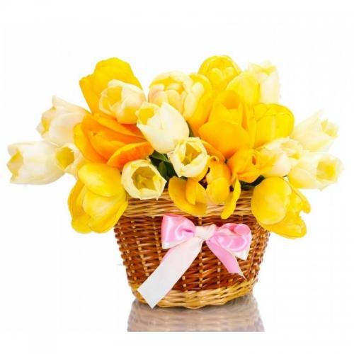Cesto con fiori freschi composizione con Tulipani Gialli