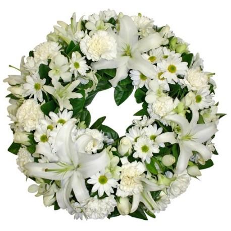 Corona funebre con fiori bianchi