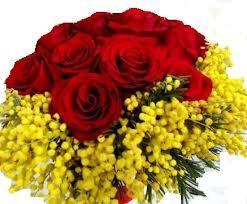 Bouquet con 9 rose rosse e mimosa
