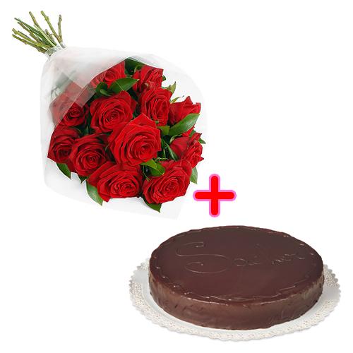 12 rose rosse con torta al cioccolato