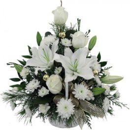 Mazzo di fiori bianchi per natale invio online