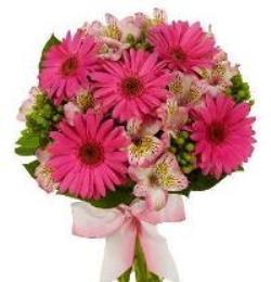 Bouquet con gerbere rosa e fiorellini rosa