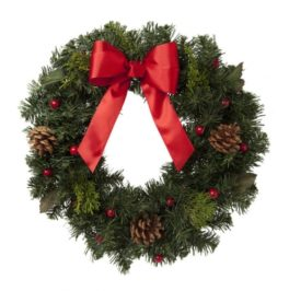 christmas wreath with bow and berries