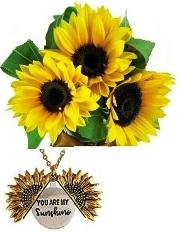 Bouquet con 3 girasoli + collana con ciondolo girasole a scomparsa e scritta