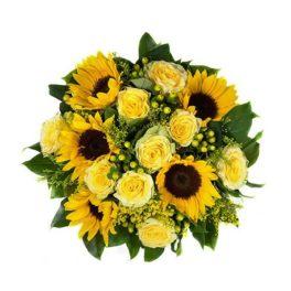 Siesta Estiva - Bouquet con girasoli e rose gialle