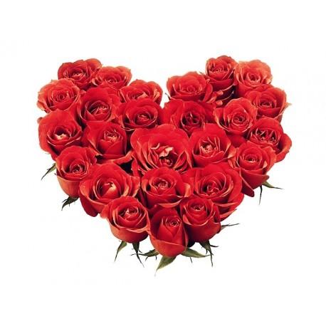 Cuscino di rose rosse a forma di cuore