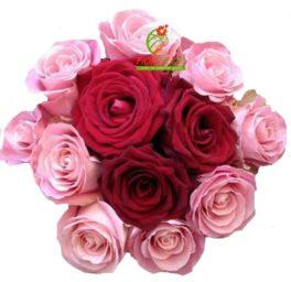 bouquet con 9 rose rosa e 3 rose rosse