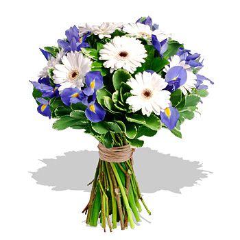 Bouquet di Iris e Gerbere Bianche