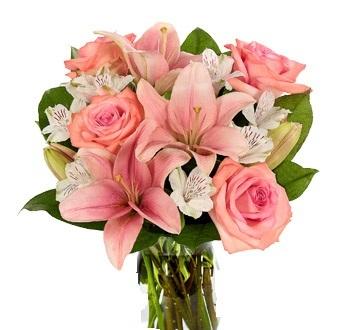 Bouquet con roselline e lilium rosa, astromerie bianche