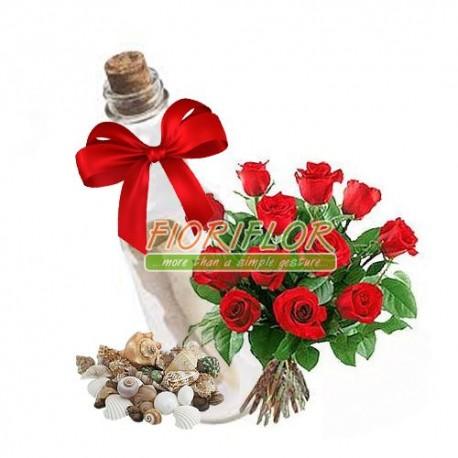 Mazzo di 12 rose con messaggio in bottiglia