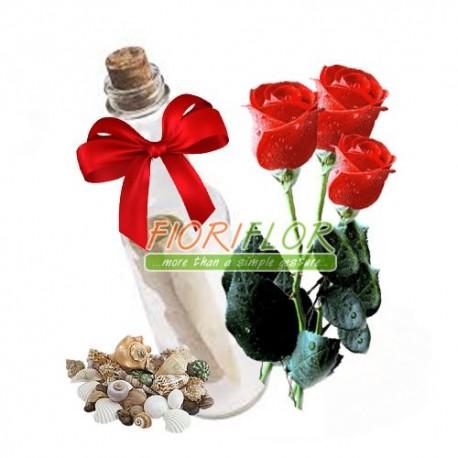 messaggio in bottiglia con rose rosse