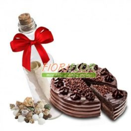 Torta a cioccolato con messaggio in bottiglia da spedire