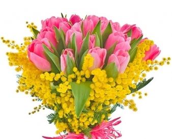 Mazzo di Tulipani rosa e Mimosa