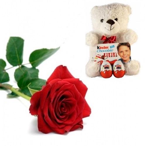 Rosa Rossa con orsetto di peluche e cioccolato