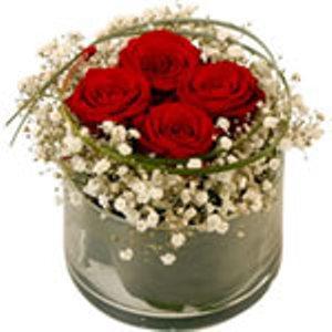 Rose Rosse e nebbiolina in vaso di vetro