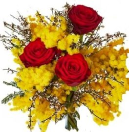 mazzo rose rosse e mimosa
