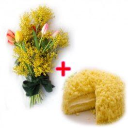 Un bouquet con tulipani colorati e mimosa + una torta mimosa