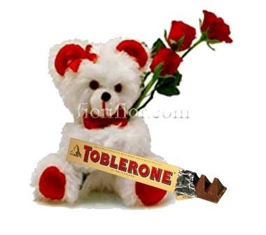 Peluches con 3 rose rosse e cioccolato