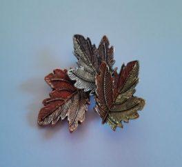 Spilla 3 foglie autunno in scatola regalo
