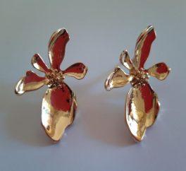 Orecchini Grandi Orchidea Oro in scatolina regalo con biglietto
