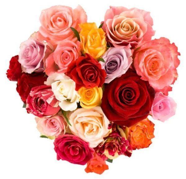 composizione floreale con 21 rose di colori misti