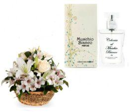 cesto fiori bianchi con profumo al muschio bianco