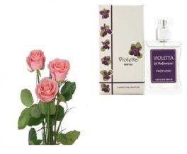 tre rose rosa con profumo alla violetta