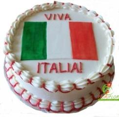 torta fresca forza italia con bandiera tricolore